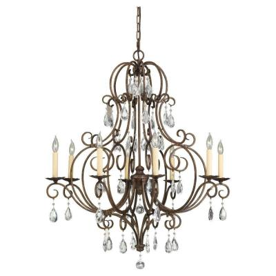 Chateau 8-Light Mocha Bronze Single Tier Chandelier