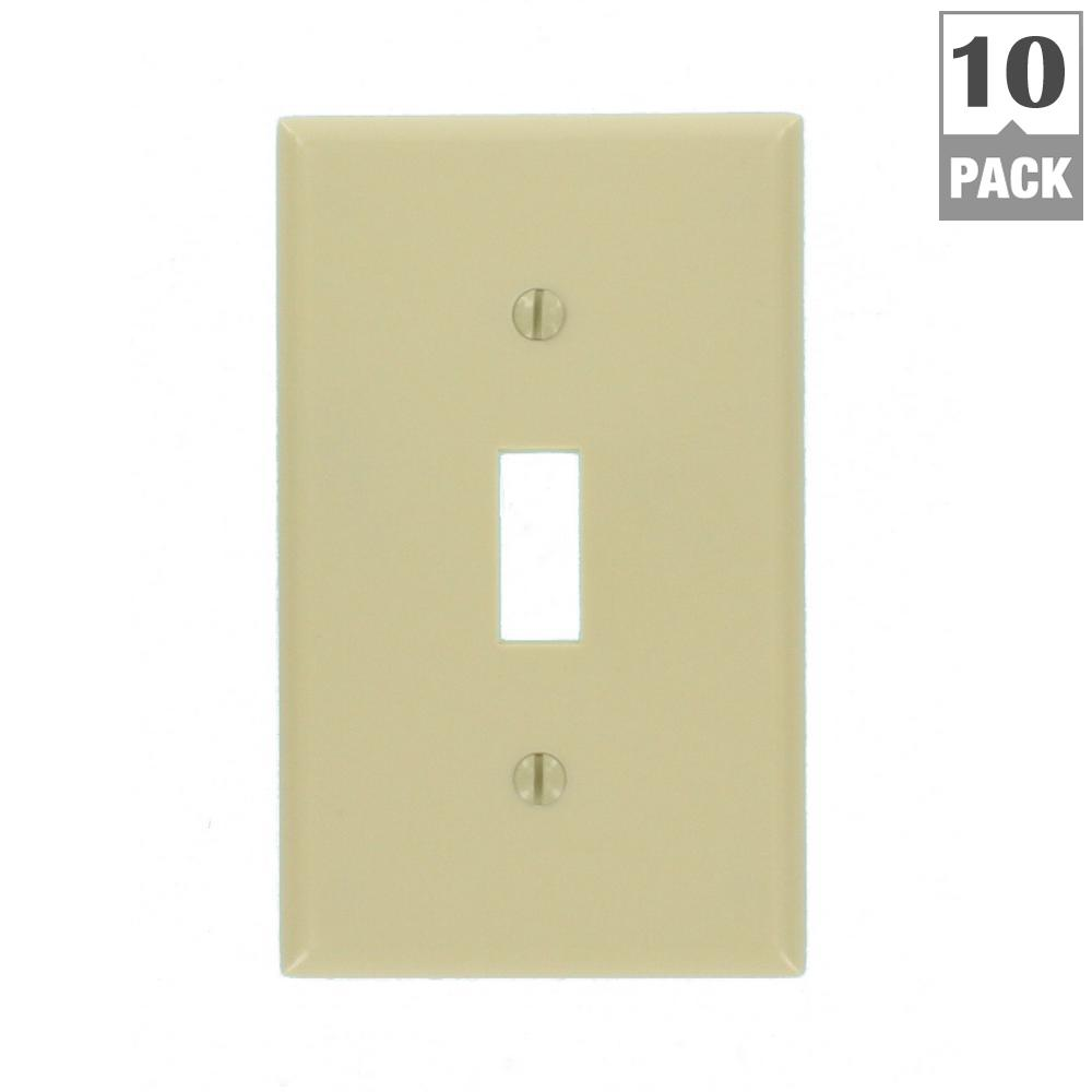1-Gang Toggle Wall Plate, Ivory (10-Pack)