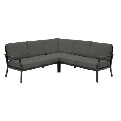 Riley 3-Piece Black Steel Outdoor Patio Sectional Sofa with CushionGuard Graphite Dark Gray Cushions