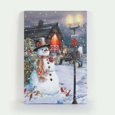 24 in. Town Snowman Canvas Print with LED Lights