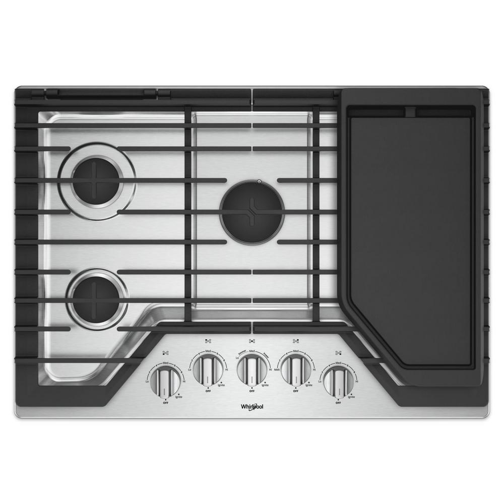 5 Burner Gas Cooktops: Whirlpool 30 In. Gas Cooktop In Stainless Steel With 5