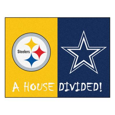 NFL House Divided - Steelers / Cowboys 33.75 in. x 42.5 in. House Divided Mat Area Rug