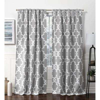 Ironwork HT Silver Blackout Hidden Tab Top Curtain Panel - 52 in. W x 84 in. L (2-Panel)