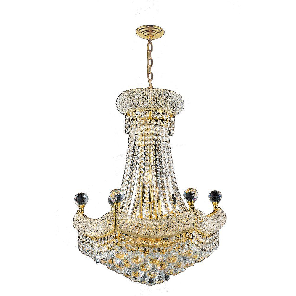 Worldwide lighting armillary 13 light gold crystal chandelier empire collection 12 light polished gold and crystal chandelier arubaitofo Choice Image
