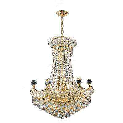 Empire Collection 12-Light Polished Gold and Crystal Chandelier