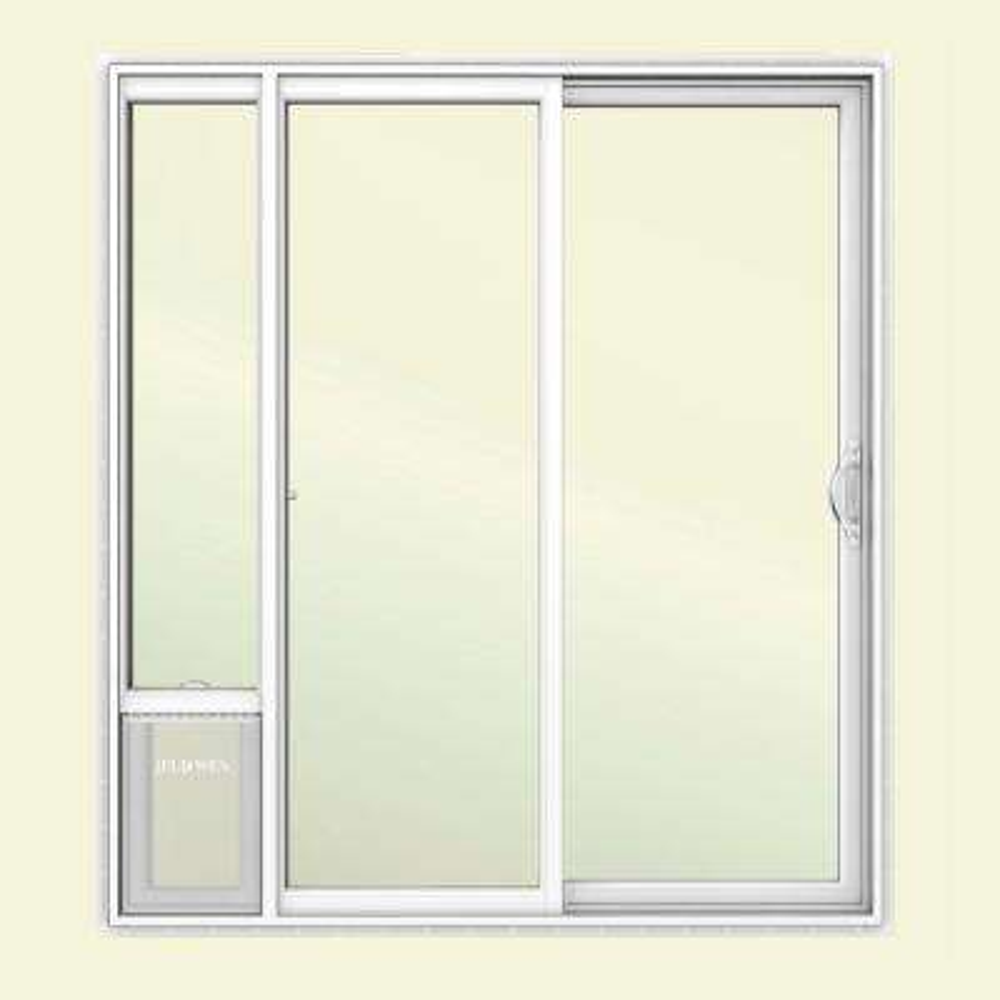72 in. x 80 in. White Right Hand Vinyl Patio Door with Low-E Argon Glass and Large Pet Door