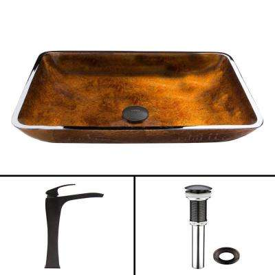 Glass Vessel Sink in Russet and Blackstonian Faucet Set in Antique Rubbed Bronze