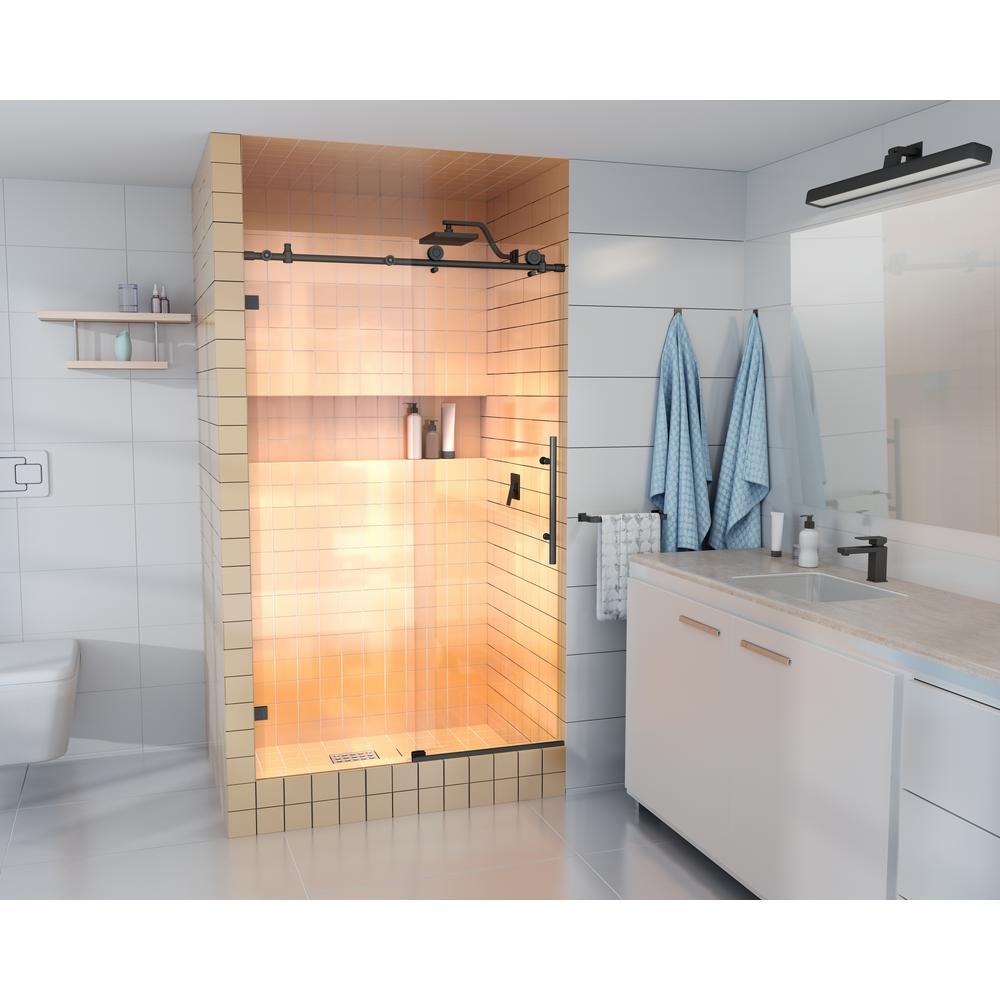 48 in. - 52 in. x 78 in. Frameless Sliding Shower Door in Matte Black with Handle