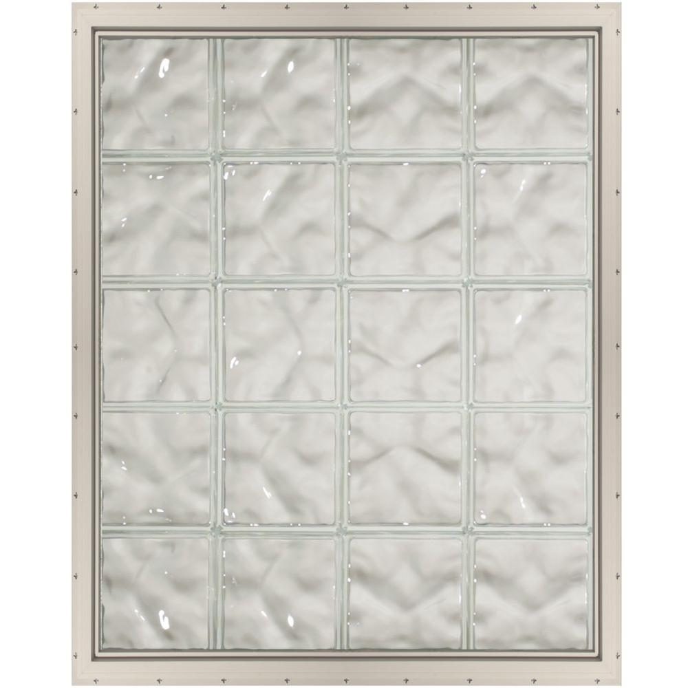 CrystaLok 31.75 in. x 39.25 in. x 3.25 in. Wave Pattern Vinyl Glass Block Window with Almond Colored Nailing Fin