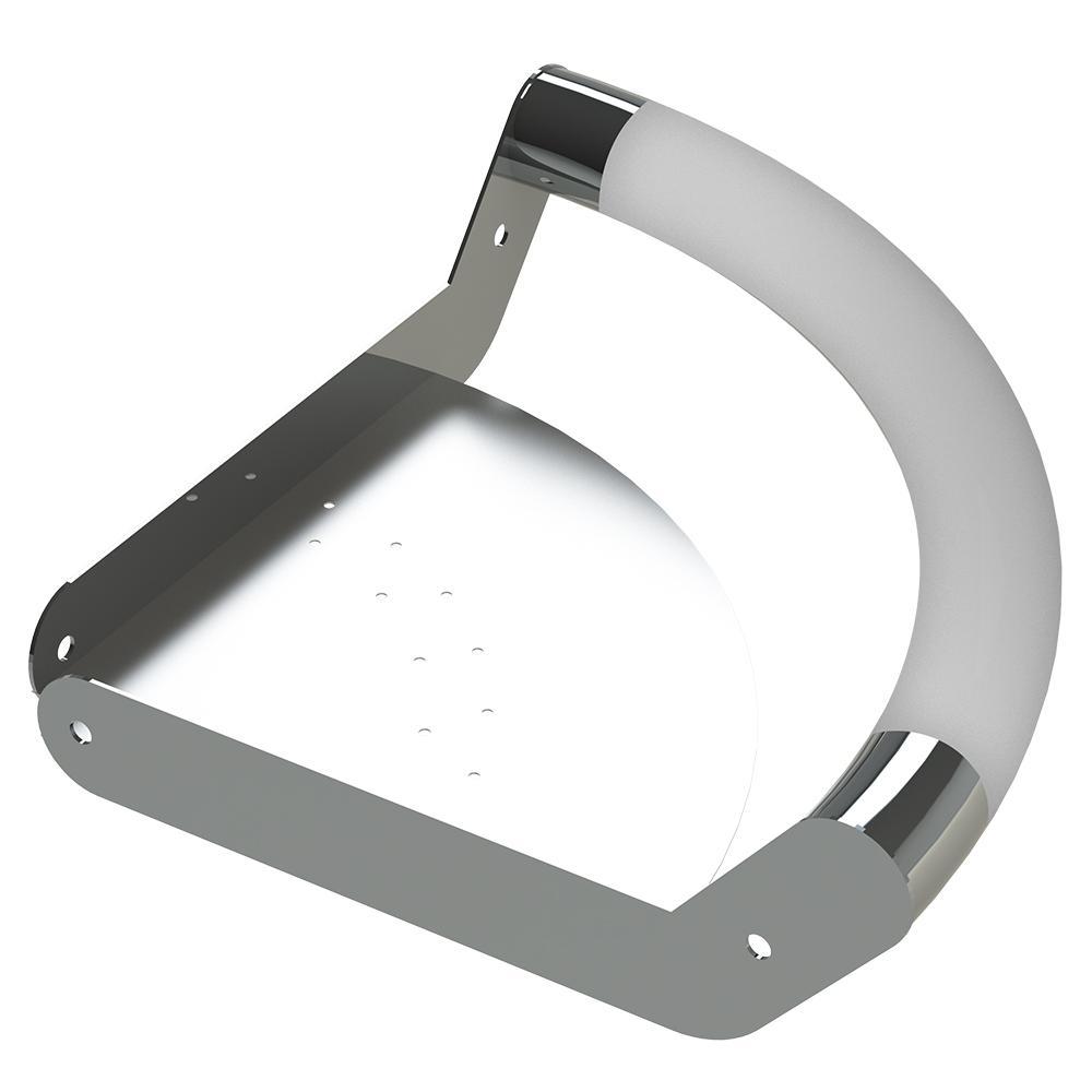 ErgoCornerBar with Ergonomic Soft Grip and Corner Shelf in Polished Stainless Steel