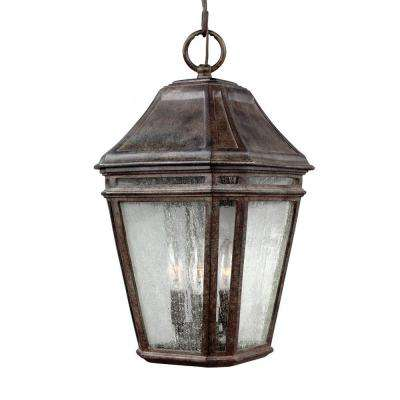Pediment 7 in. W. 2-Light Dark Weathered Zinc Outdoor Wall Fixture with Clear Seeded Glass