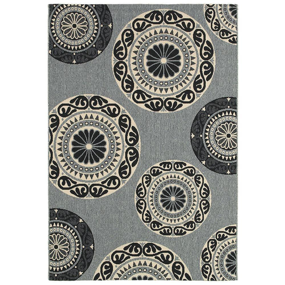 LR Resources Lanai Grey 7 ft. 9 in. x 9 ft. 9 in. Plush Outdoor Area Rug