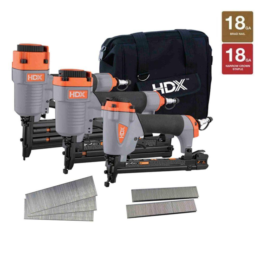 HDX Pneumatic 3-Piece Nail Gun Finish and Trim Kit with Canvas bag