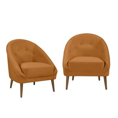 Lori Modern Mustard Gold Velvet Fabric Barrel Chair (Set of 2)
