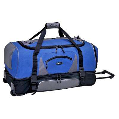 36 in. 2-Section Navy/Gray Drop-Bottom Rolling Duffel