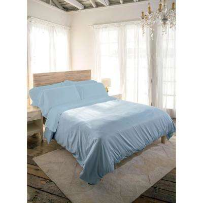 Siesta 3-Piece Periwinkle Cotton Twin Sheet Set