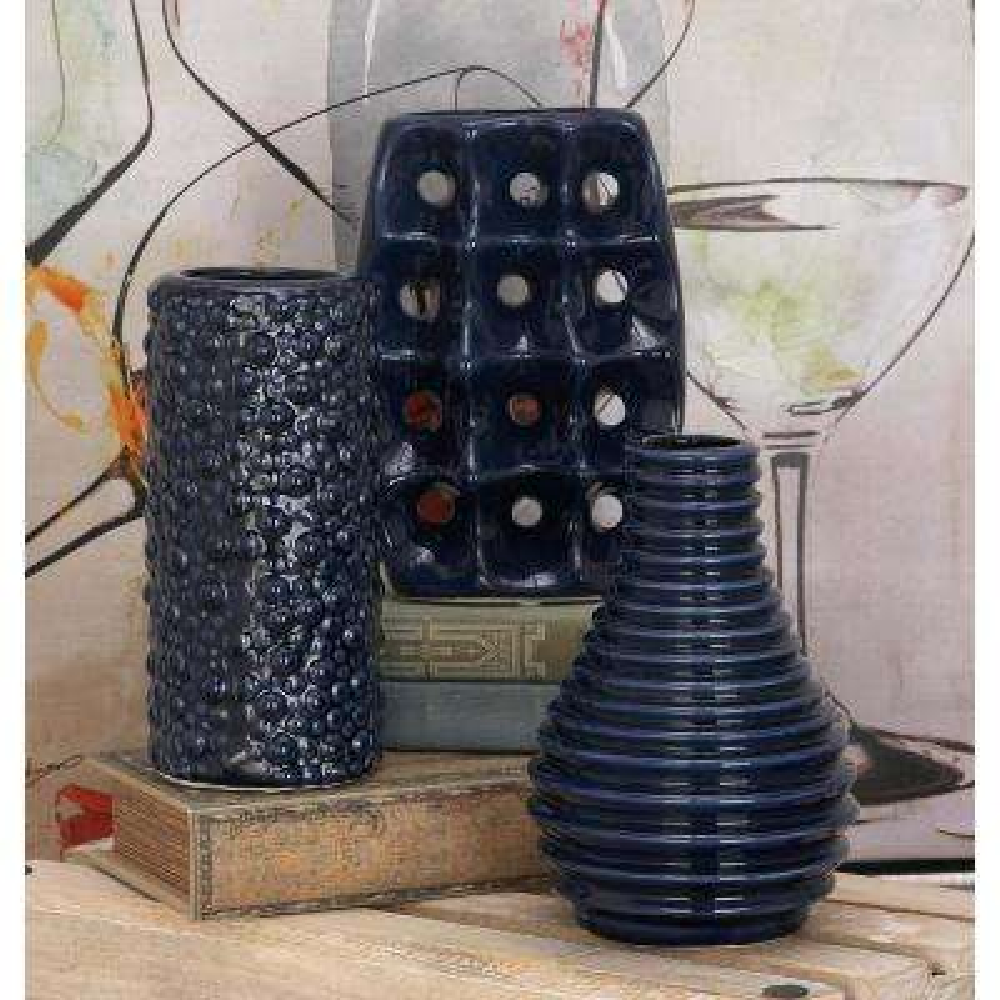 8 in. Modern Blue Ceramic Decorative Vases (Set of 3)