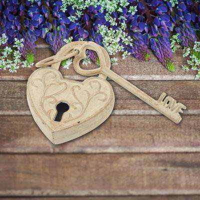 4 in. x 6 in. White with Gold Cast Iron Heart Shaped Lock and Love Key