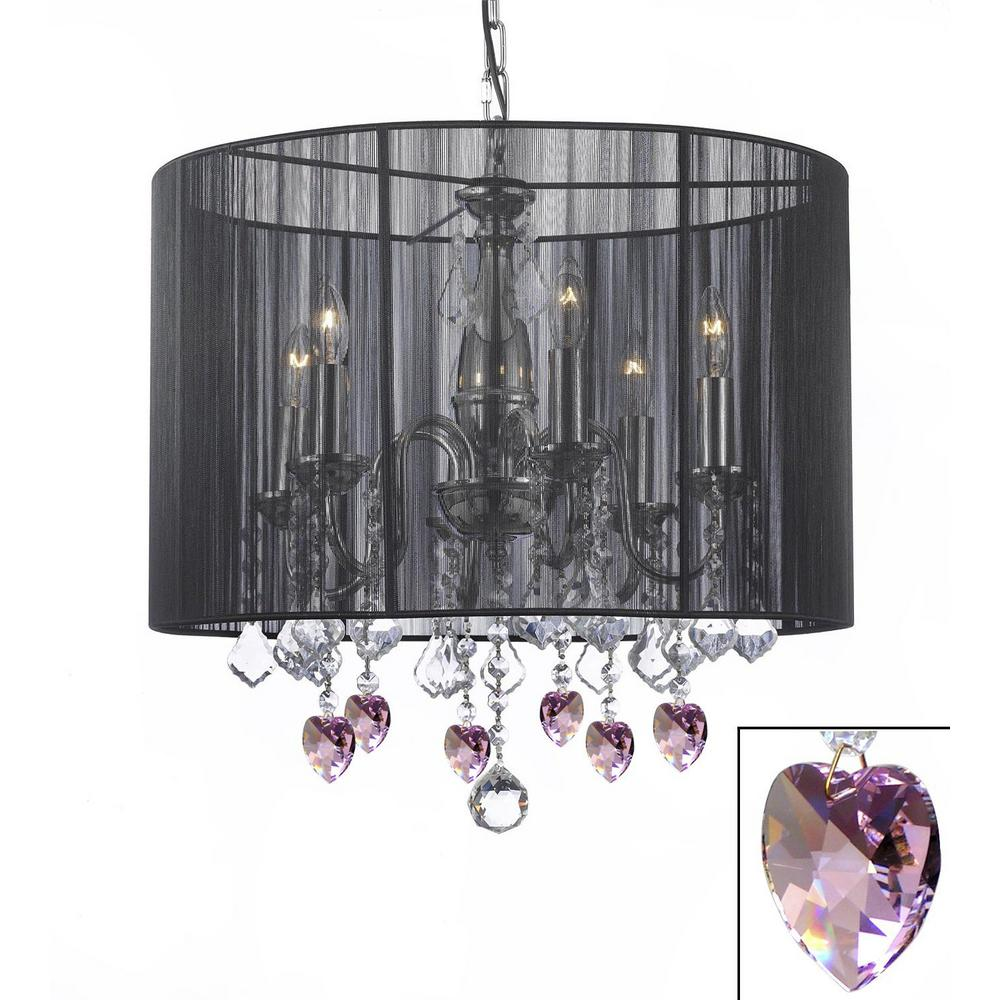 Harrison Lane Empress 6 Light Chandelier With Large Black Shade And Pink Crystal Hearts
