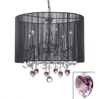 Empress 6-Light Chandelier with Large Black Shade and Pink Crystal Hearts