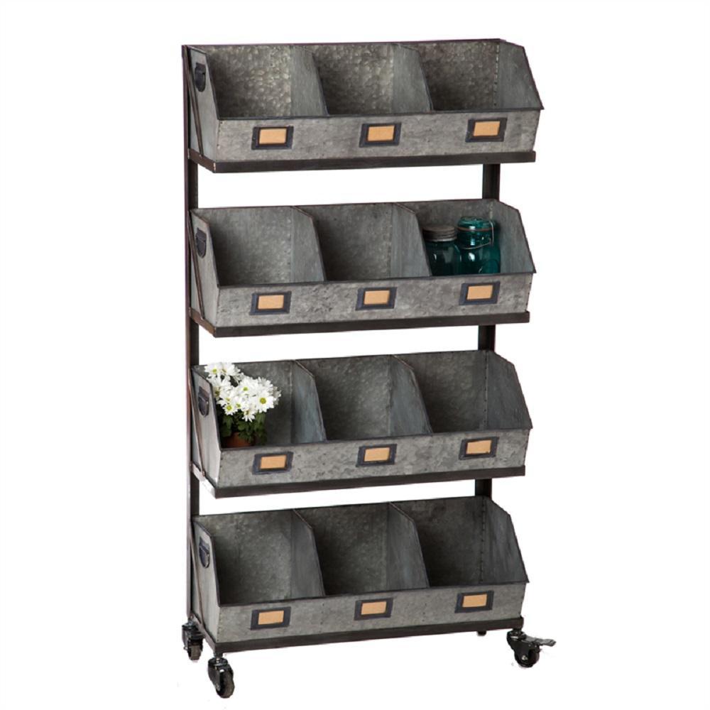 Cape Craftsman Large 12 Metal Storage Bin With Black Display Rack