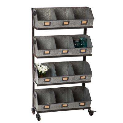 Large 12-Metal Storage Bin with Black Display Rack