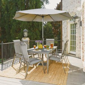 Home Styles Daytona Charcoal Gray 9-Piece Aluminum Round Outdoor Dining Set by Home Styles