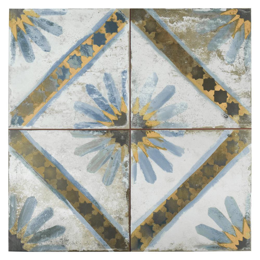 Kings Marrakech Blue 17-5/8 in. x 17-5/8 in. Ceramic F/W Tile