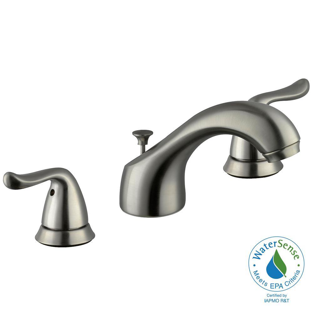 Glacier Bay Constructor 8 In Widespread 2 Handle Low Arc Bathroom Faucet In Brushed Nickel
