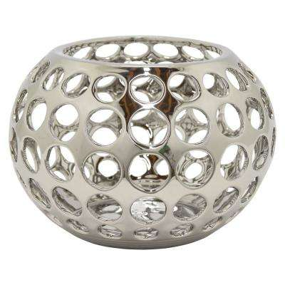 10.5 in. x 10.5 in. Decorative Pierced Silver Ceramic Bowl