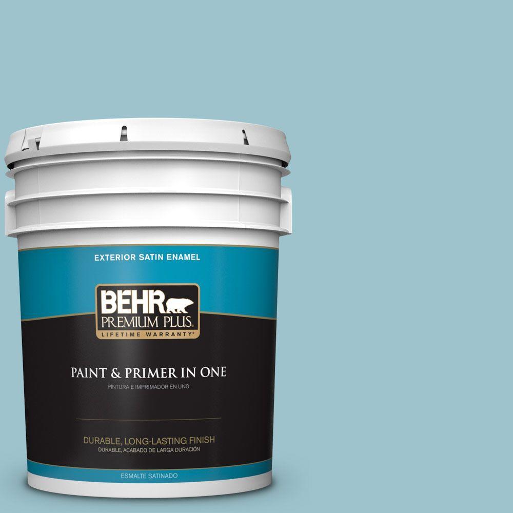 BEHR Premium Plus 5-gal. #ICC-99 Alluring Blue Satin Enamel Exterior Paint