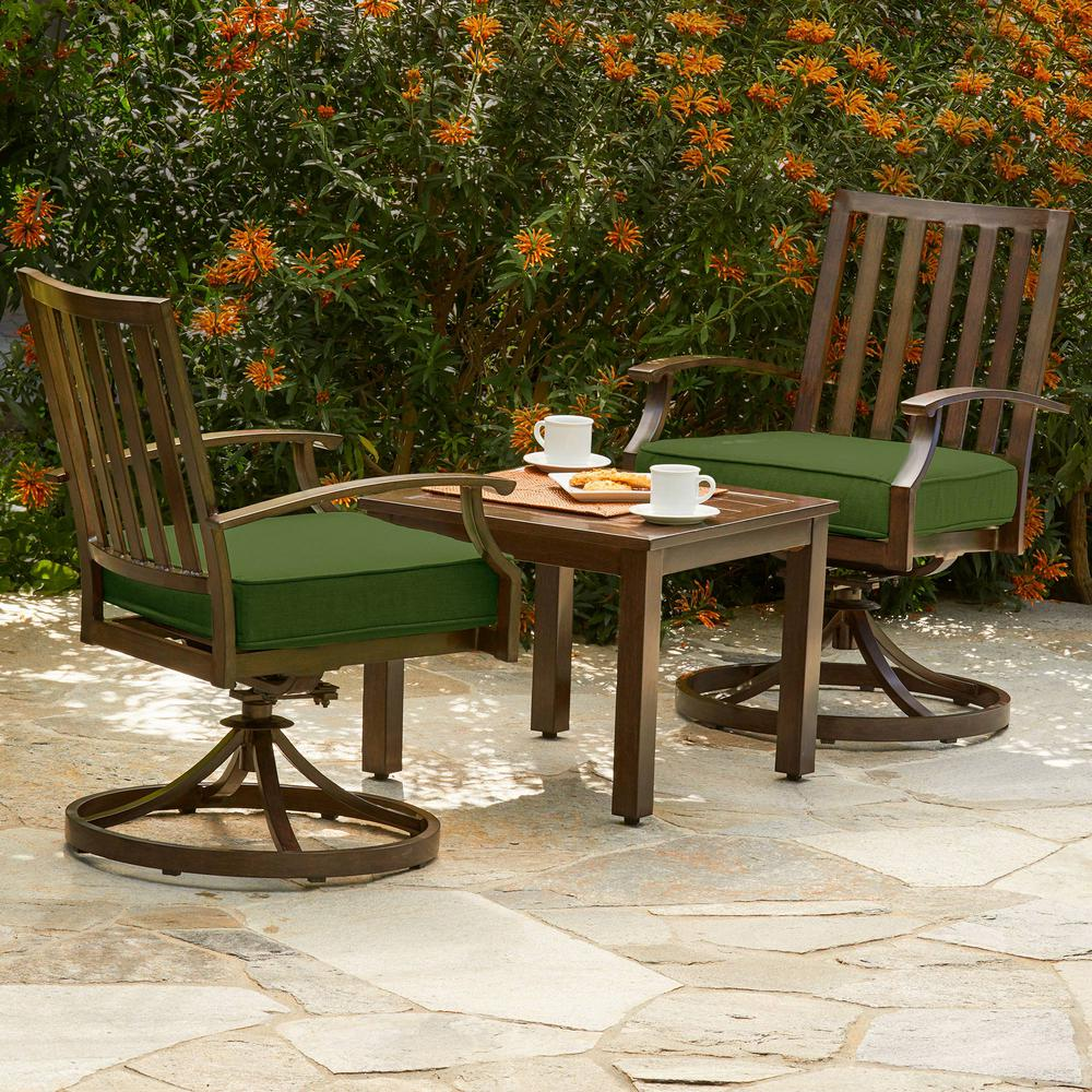 Bridgeport 3-Piece Metal Outdoor Bistro Set with Green Cushions