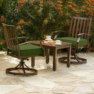 Bridgeport 3-Piece Aluminum Outdoor Bistro Set with Green Cushions
