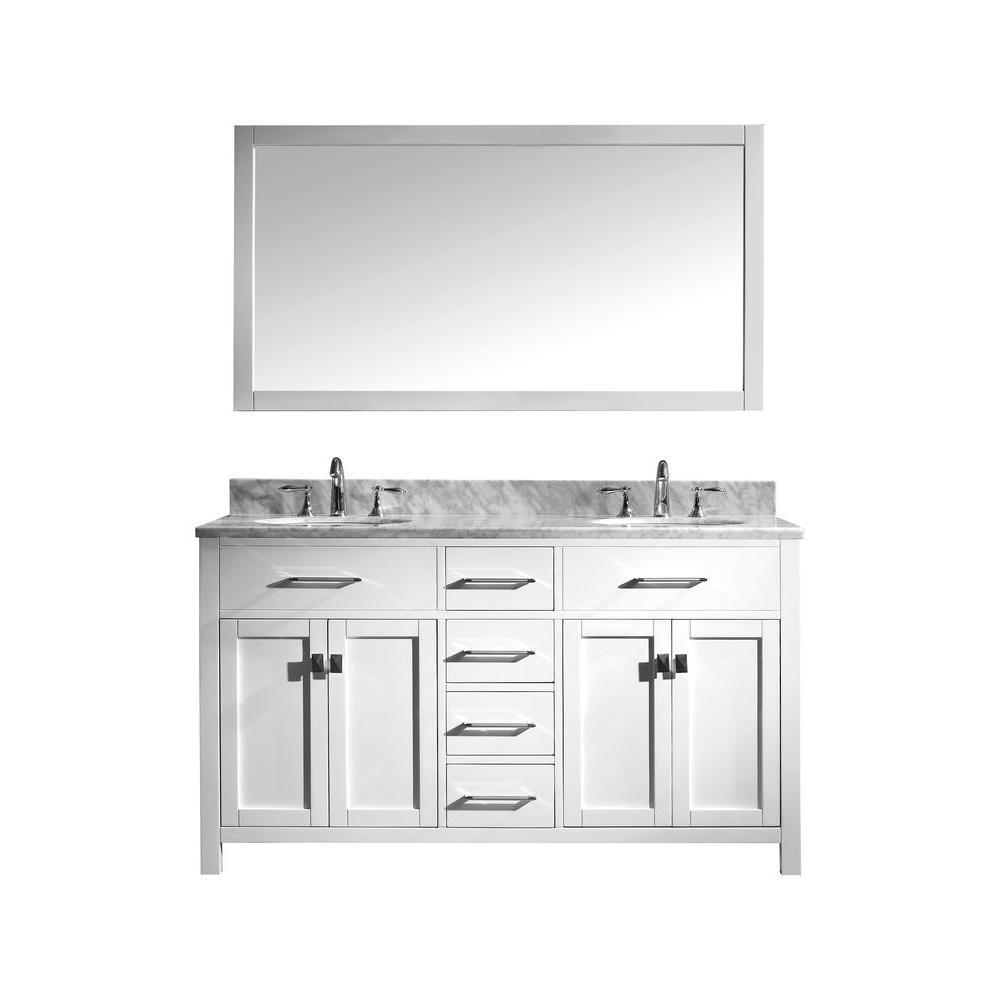 60 Inch Bathroom Vanity Home Depot.Virtu Usa Caroline 60 In W Bath Vanity In White With Marble Vanity Top In White With Round Basin And Mirror
