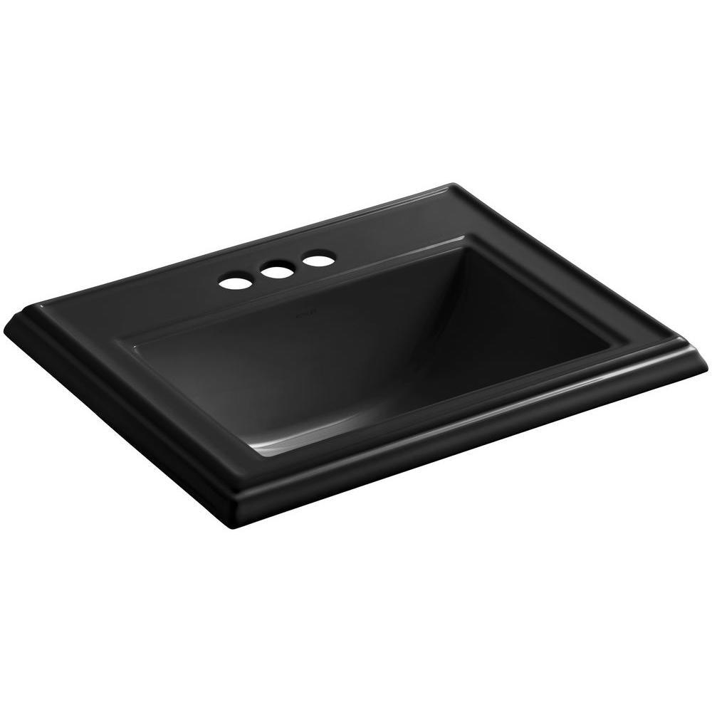 KOHLER Memoirs Drop-In Vitreous China Bathroom Sink in Black Black with Overflow Drain