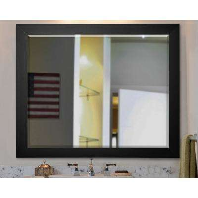 32.5 in. x 38.5 in. Black Satin Rounded Beveled Wall Mirror