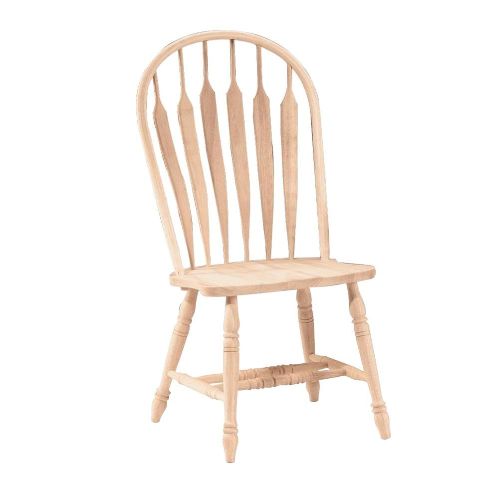 International Concepts Unfinished Wood Steam Bent Arrow Back Windsor Dining Chair