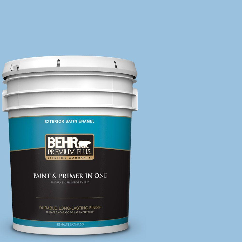 BEHR Premium Plus 5-gal. #M520-3 Charismatic Sky Satin Enamel Exterior Paint