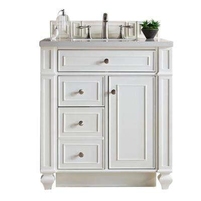 Bristol 30 in. W Single Vanity in Cottage White with Quartz Vanity Top in Snow White with White Basin