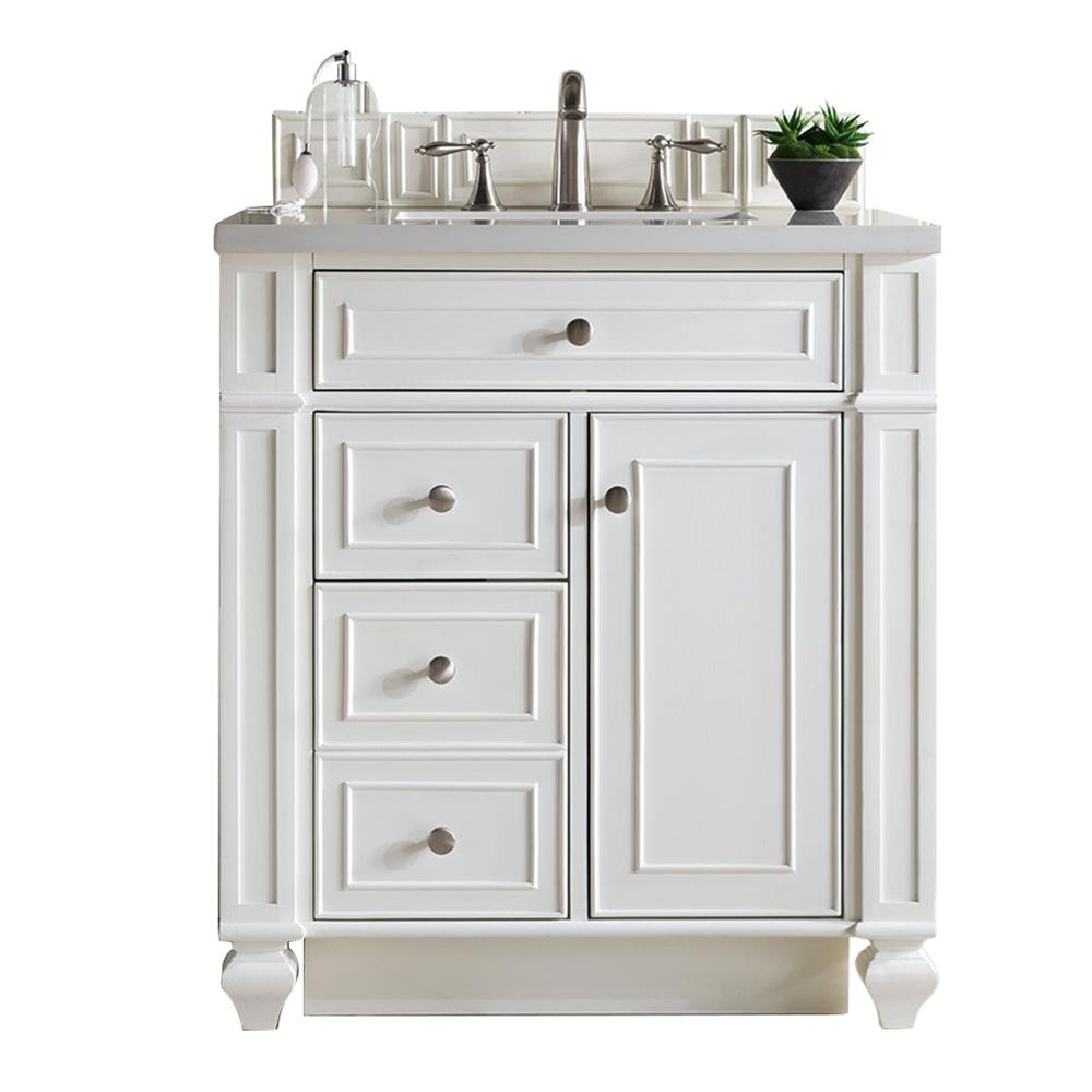 James Martin Vanities Bristol 30 in. W Single Vanity in Cottage White with Quartz Vanity Top in Snow White with White Basin