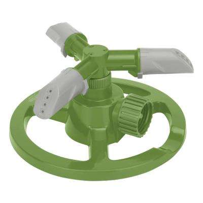 3-Arm Rotating Sprinkler with High-Impact-Resistant Circle Base