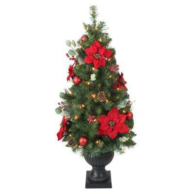 Fully Decorated Christmas Tree Decoration Kit.4 Ft Pre Lit Berry Bliss Potted Artificial Christmas Tree With 50 Clear Lights