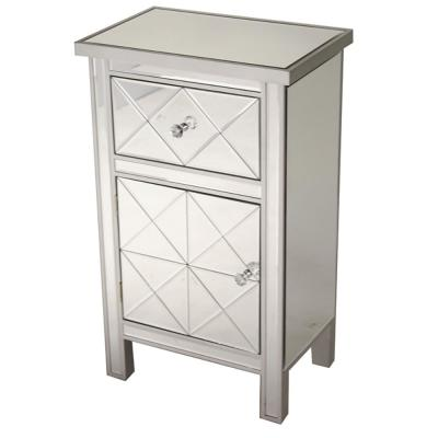 Shelly Assembled 20 in. x 20 in. x 13 in. Silver Wood Glass Accent Storage Cabinet with a Drawer and a Door