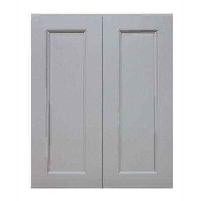 Modern Craftsman Ready to Assemble 27x42x12 in. Wall Cabinet with 2 Door 3 Shelf in Gray