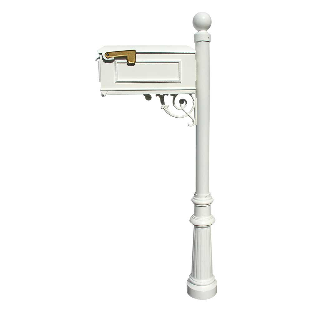 QualArc Lewiston Mailbox Collection with Post, Decorative Fluted Base and Ball Finial in White
