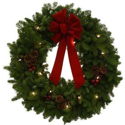 24 in. Pre-Lit Classic Fresh Wreath with Red Velvet Bow : Multiple Ship Weeks Available