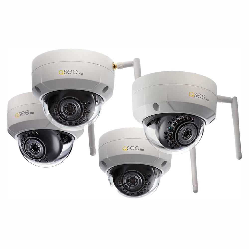 Q-SEE 3MP Wi-Fi Indoor/Outdoor Dome Security Surveillance Camera with 16GB  SD Cards (4-Pack)