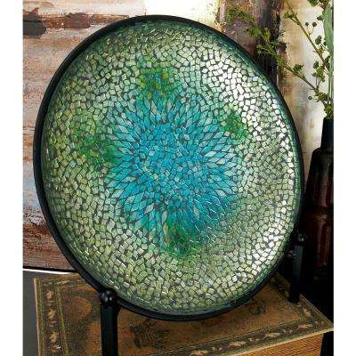 14 in. Blue Glass and Mirror Mosaic with Easel