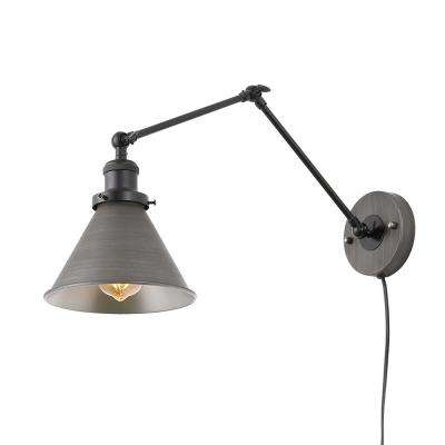 1-Light Dark Gray Wall Lamp Adjustable Plug-in Wall Sconce
