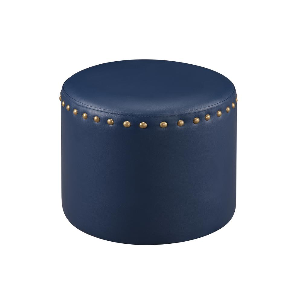 Excellent Blue Nailhead Trim Faux Leather Round Ottoman Gmtry Best Dining Table And Chair Ideas Images Gmtryco